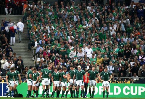 The Ireland team in front of disappointed Irish fans. Photograph: Inpho/Billy Stickland