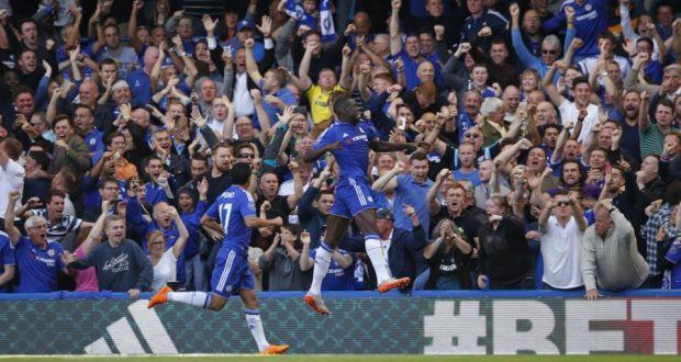 Kurt Zouma celebrates scoring for Chelsea against Arsenal. Photograph  John  Sibley Reuters 609bfff2df7d7