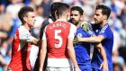 Chelsea's Diego Costa squares up to   Gabriel Paulista, an incident  that  saw the Arsenal defender sent off during the Premier League game   at Stamford Bridge. Photograph: Andy Rain/EPA