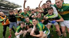 Kerry players celebrate their minor football final victory over Tipperary at Croke Park. Photograph: Donall Farmer/Inpho.