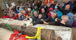 One of six  discovered cannons from the Spanish Armada shipwrecks in 1588 at  Streedagh, Co Sligo,   when it was   set down for a public viewing in Mullaghmore, Co. Sligo, in July. Photograph: James Connolly