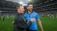 Dublin Manager Jim Gavin celebrates with Cian O'Sullivan after the game. Photograph: Ryan Byrne/Inpho