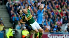 Kerry substitute Kieran Donaghy battles in the Dublin square for a high ball with Rory O'Carroll and Johnny Cooper in the All-Ireland final at Croke Park. Photograph: Donall Farmer/Inpho
