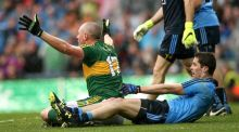 Kieran Donaghy appeals for a penalty after a clear drag down by Rory O'Carroll. Photograph: James Crombie/Inpho
