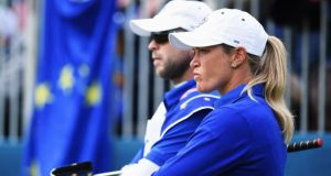 Suzann Pettersen of team Europe ponders during the singles matches of The Solheim Cup at St Leon-Rot Golf Club. Photograph: Stuart Franklin/Getty Images