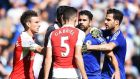 Chelsea's Diego Costa has an altercation with Gabriel Paulista resulting in Gabriel being sent off on Saturday. Photograph: EPA