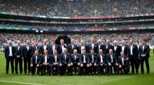 The 1990 Cork Jubilee team in Croke Park on Sunday. Photograph: James Crombie/Inpho
