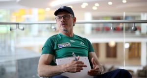 "Ireland defensive coach Les Kiss at a press conference in Staffordshire, England on Monday: he said  Romania have experience in the front-row, which gives an ""opportunity to expose a few blokes to that"". Photograph:  Dan Sheridan/Inpho"