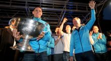Dublin captain Stephen Cluxton and manager Jim Gavin with the Sam Maguire trophy on O'Connell Street. Photograph: Inpho/Ryan Byrne