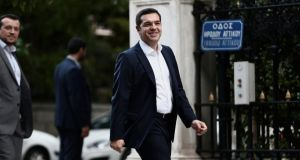 Alexis Tsipras arrives at the presidential palace in Athens on Monday. Photograph: Yorgos Karahalis/Bloomberg