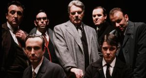 The cast of the 2001 production of Tom Murphy's A Whistle in the Dark at the Abbey Theatre