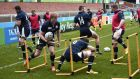 Members of Scotland's rugby squad participate in a team training session at Kingshlom stadium in Gloucester. Photograph: Getty Images