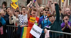 Celebrations in the court yard at Dublin Castleduring the results of the Referendum on Marriage Equality.Photograph: Dara Mac Dónaill / The Irish Times