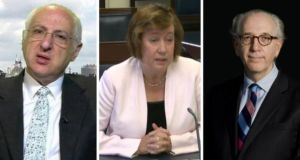 Lord Alex Carlile, Rosalie Flanagan and Stephen Shaw, who have been appointed to the new paramilitary review panel.