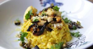 Domini Kemp Mung Dhal Risotto with cauliflower and capers. Photograph: Aidan Crawley