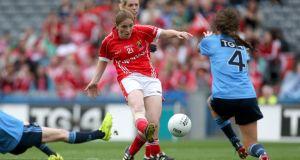 Cork's Rhona Ní Bhuachalla scores a goal against Dublin during last year's All-Ireland final. Photograph: Ryan Byrne/Inpho