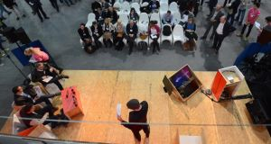 Making a Web Summit pitch. Photograph: Eric Luke/The Irish Times