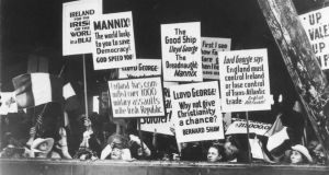 Supporters protest against Archbishop Mannix's exclusion from Ireland. The British government would not permit Mannix to land in Ireland. Liverpool, Manchester and Glasgow (all of which had big Irish populations) were also off limits, so he was put ashore in Penzance, Cornwall