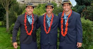 Samoa World Cup team members Tusi, Ken and George Pisi attend a welcoming ceremony at Brighton Dome. Photograph: Anthony Harvey/Getty Images