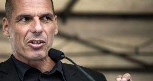 Former greek finance Minister Yanis Varoufakis speaks during the 43rd annual Fete de la Rose political meeting last August  in Frangy-en-Bresse, France. Photograph:  Jean-Philippe Ksiazek/AFP/Getty Images