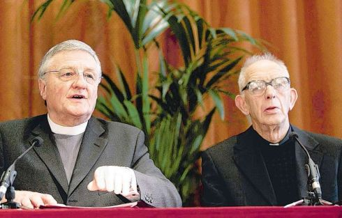 26/09/05: The Rev Harold Good and Fr Alec Reid at a press conference in Belfast confirming that they had witnessed the decommissioning of all IRA weapons and explosives. Photograph: Dara Mac Dónaill/The Irish Times
