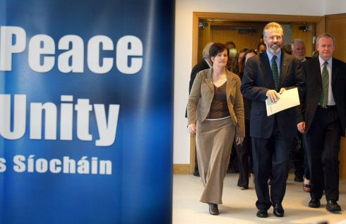 26/09/2005: Sinn Fein president Gerry Adams (centre) with chief negotiator Martin McGuinness (right) and Caitriona Ruane (left) arrive for a press conference at the Waterfront hall after it emerged the IRA had put all of its weapons beyond usePhotograph: Paul Faith/PA