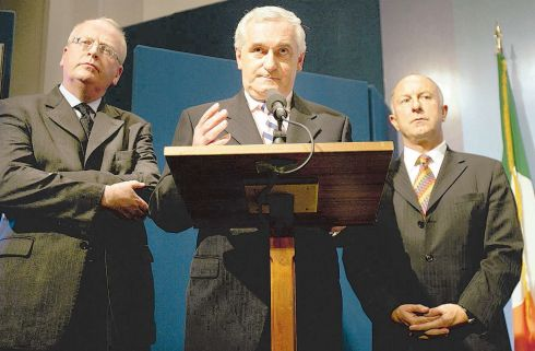 'The gun of the IRA is out of Irish Politics' - Taoiseach Bertie Ahern. Above: Mr Ahern, with Minister for Justice Michael McDowell (left) and Minister for Foreign Affairs Dermot Ahern, at Government Buildings. Photograph: Eric Luke/The Irish Times