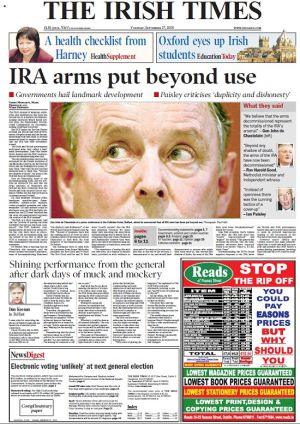 27/09/2005: The front page of The Irish Times announces the news.