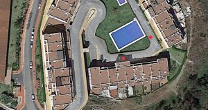 An aerial map of the apartment complex in Mirarflores. No-1 Marks where the gunman is  believed to have shot from. No-2 Marks where Gary Hutch fell. Photograph: Solarpix.com