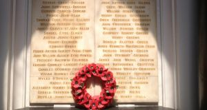 One of the Hall of Honour marbel panels with the names of  Trinity students, staff and alumni who died in the war. Photograph: Peter Murtagh