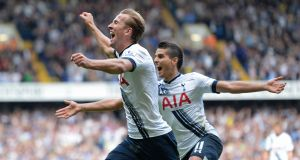 Harry Kane opened his account for the season as Tottenham Hotspure routed Manchester City 4-1 at White Hart Lane. Photograph: Reuters