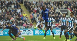 Chelsea's Ramires scores his side's first goal during the  Premier League match against Newcastle at St James' Park. Photograph:  Owen Humphreys/PA