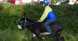 Champion jockey AP McCoy at a charity donkey derby event in Moneyglass, Co Antrim. Photograph: Liam McBurney/PA Wire.