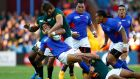 Uncompromising Springbok secondrow Eben Etzebeth manhandles Samoa's Ken Pisi at Villa Park. Photograph: Laurence Griffiths/Getty Images
