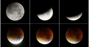 A combination of six pictures shows the rising supermoon in the sky over  Frankfurt, Germany, on Monday. Photograph: Reuters