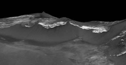 Some of the dark, narrow streaks called recurring slope lineae flowing down the west facing slopes of Coprates Chasma in the equatorial region of Mars. Photograph: AFP/Nasa/JPL/University of Arizona