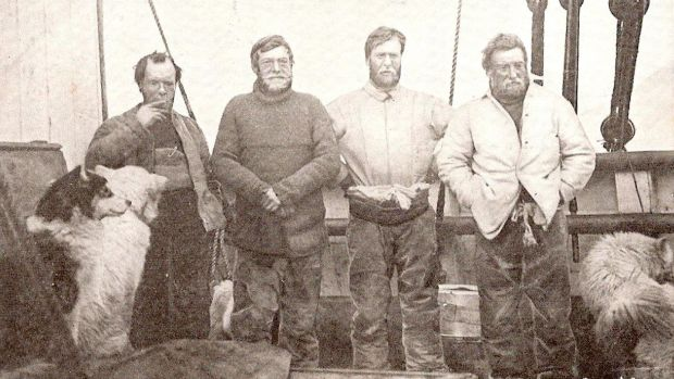 Sir Ernest Shackleton's South Pole expedition team: Left to right – Frank Wild, Sir Ernest Shackleton, Eric Marshall and Jameson Boyd-Adams. Photograph: Shackleton Foundation/PA