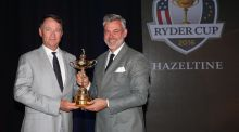 Ryder Cup captains Davis Love and Darren Clarke pose with the trophy  at Hazeltine National Golf Club in Chaska, Minnesota. Photograph: Andrew Redington/Getty Images