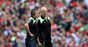 Mayo co-managers Noel Connelly and Pat Holmes during the All-Ireland SFC semi-final at Croke Park. Photograph: Ryan Byrne/Inpho