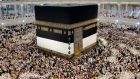 Muslim pilgrims surround the Kaaba at the Masjid al-Haram Mosque in Mecca, Saudi Arabia. Photograph: Amel Pain/EPA