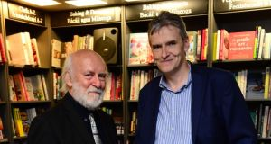 Former press ombudsman Prof  John Horgan with    the author of John Redmond: A Life Undone, Irish Times foreign editor Chris Dooley,  at the book launch at Hodges Figgis in Dublin. Photograph: Dara Mac Dónaill