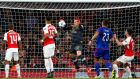 Arsenal goalkeeper David Ospina scores an own goal during the Champions League Group F match against Olympiakos at the Emirates Stadium. Photograph: Shaun Botterill/Getty Images