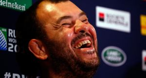 Australia coach Michael Cheika enjoys a good laugh  during an Australia media session at the Grange Wellington Hotel  in London, United Kingdom. Photograph: Dan Mullan/Getty Images