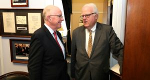 "Minister for Foreign Affairs Charlie Flanagan (left), on a visit to Washington, has welcomed plans by Republican Congressman Jim Sensenbrenner (right) of Wisconsin to table legislation for E3 visas for ""a limited period of time for Irish people"". Photograph: Marty Katz"