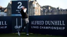 Shane Lowry  plays off the second tee during the final practice round of the  Alfred Dunhill Links Championship at The Old Course in St Andrews, Scotland. Photo:  Ian Walton/Getty Images