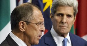 Russian foreign minister Sergei Lavrov (left) and US secretary of state John Kerry brief the media on the current situation in Syria, at UN headquarters in Manhattan, New York, September 30, 2015. Photograph: Andrew Kelly/Reuters