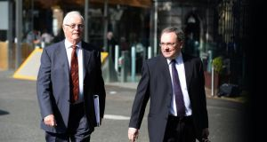Walking: Nama chairman Frank Daly and Brendan McDonagh, chief executive arriving at the Public Accounts Committee, (PAC) in Leinster House earlier this year. Photograph: Dara Mac Dónaill