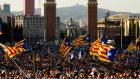 Catalans gather for the closing rally of the parlimentary elections held last weekend. Photograph: Alex Caparros/Getty Images