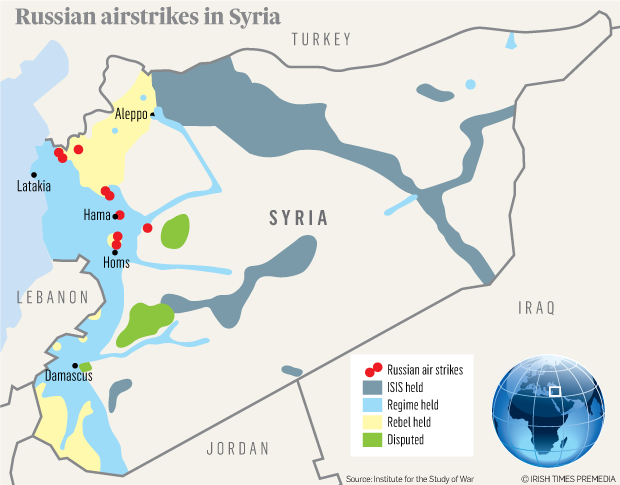 Map: Russia airstrikes in syria