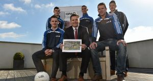 GPA chief executive  Dessie Farrell with county footballers, from left, Dermot Malone, Monaghan, Michael Quinlivan, Tipperary, James McCarthy, Dublin, Ronan Sweeney, Kildare and Michael Quinn, Longford, at the presentation of the GPA's Football Competitions Proposal. Photograph: Matt Browne/Sportsfile